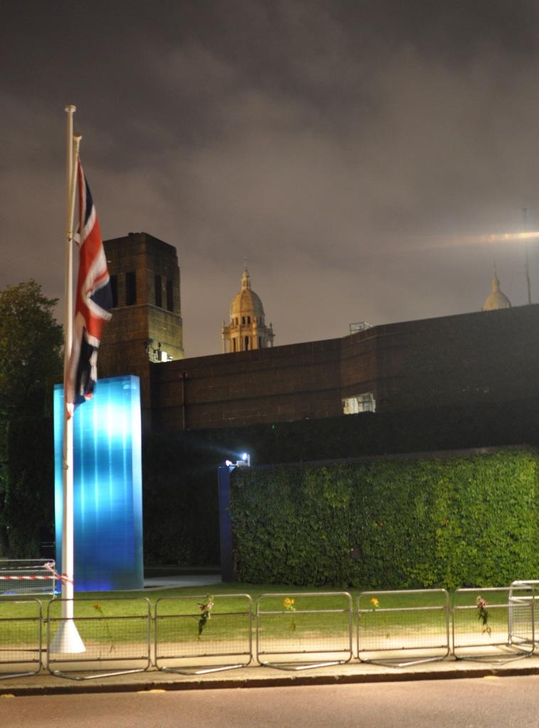 Police memorial at night