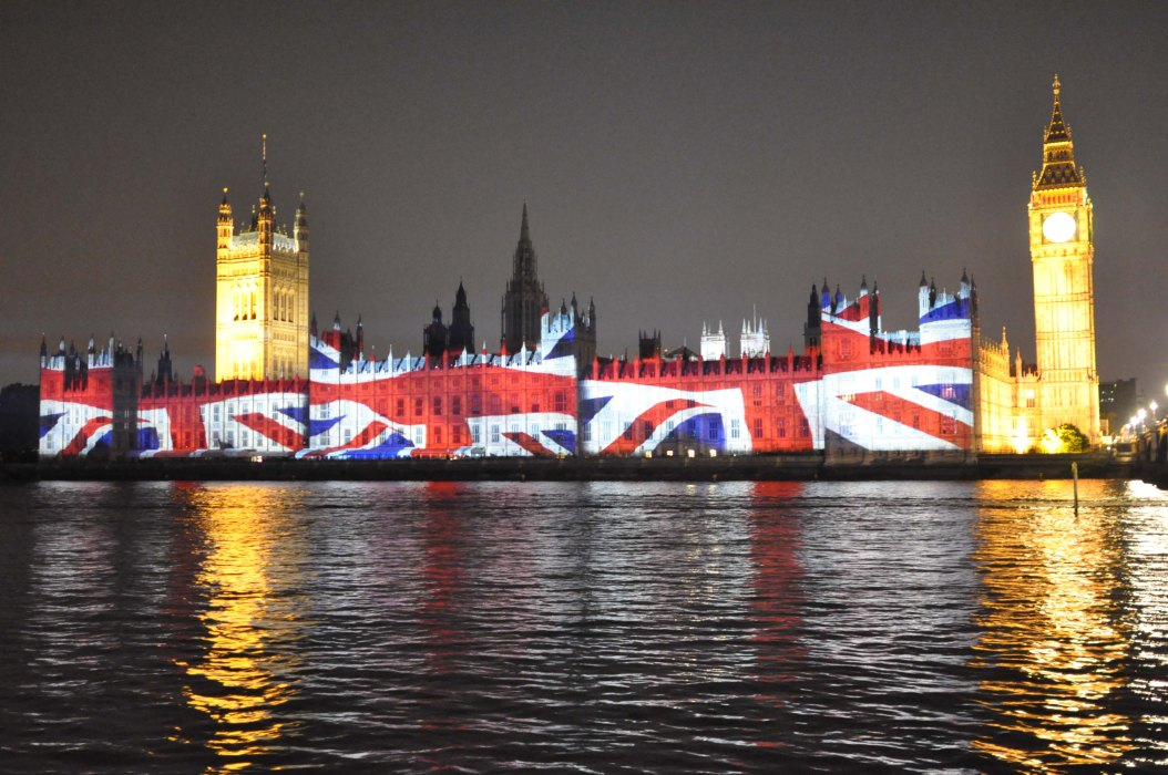 Houses of Parliament during Olympics with Union Jack Image - Night view
