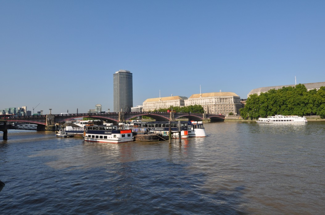Towards Lambeth Bridge from Albert Embankment - morning