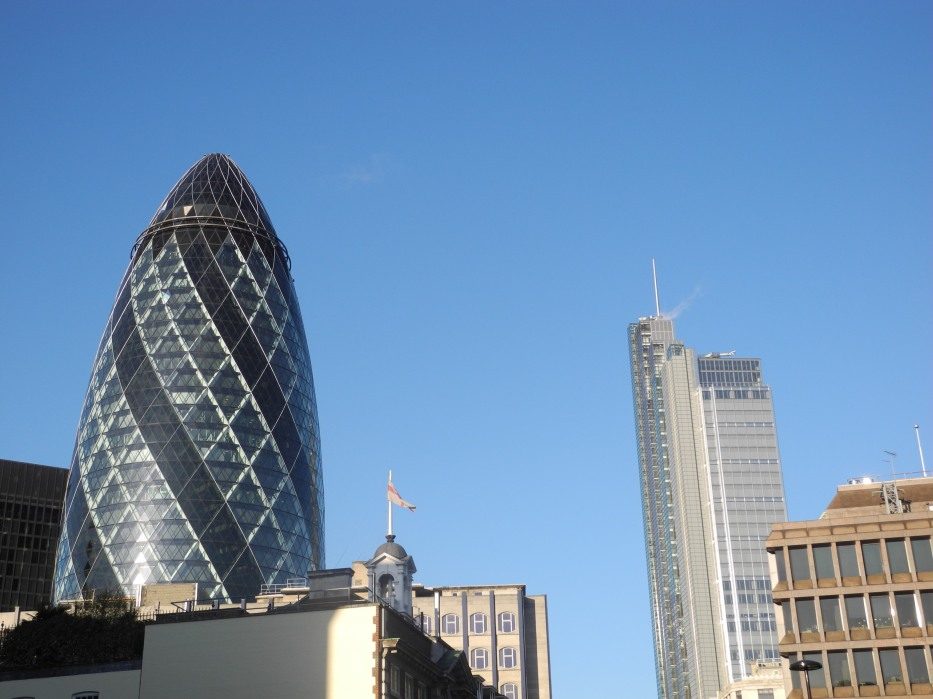 The Gherkin (30 St Mary Axe) from Aldgate
