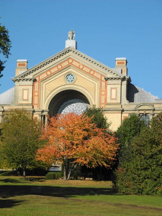 Front view with autumn trees