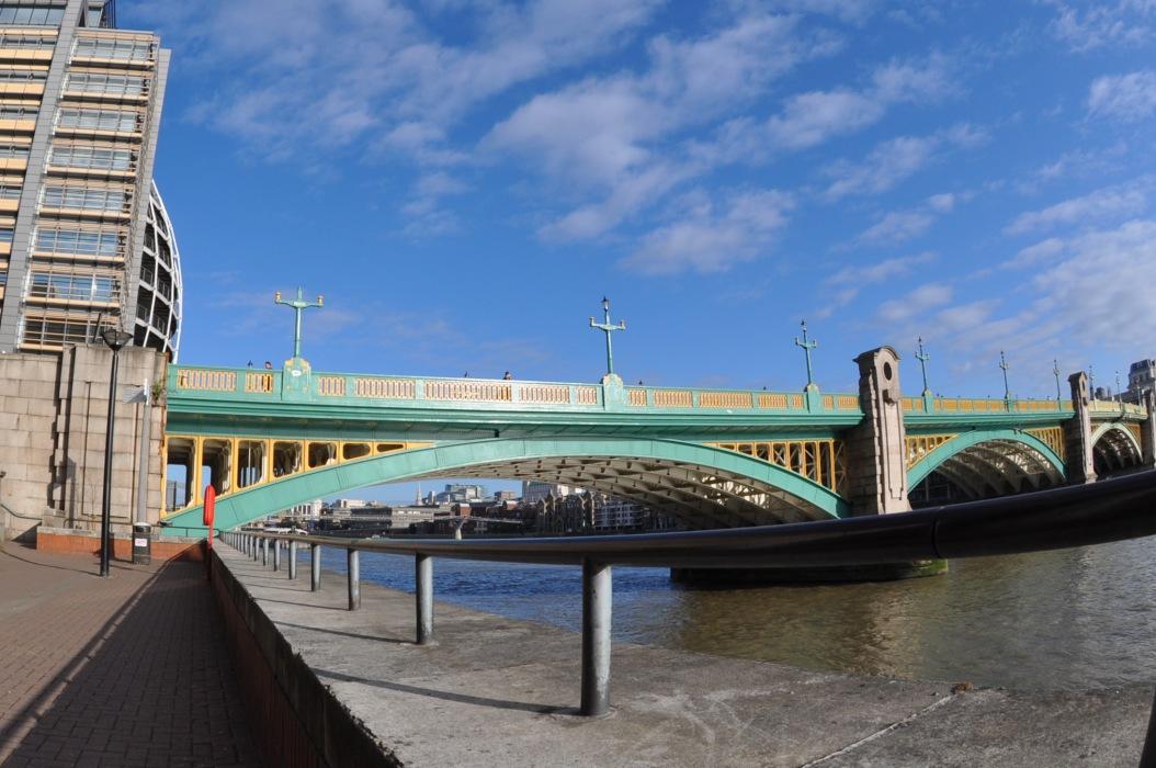 Southwark Bridge from Bankside - looking west