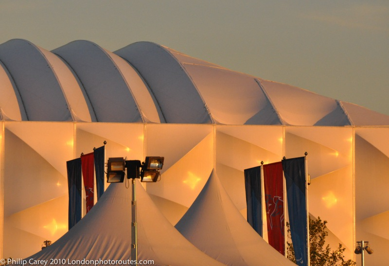 basketball arena at sunset from the Velodrome