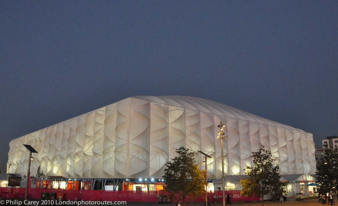 Basketball arena night/dusk view
