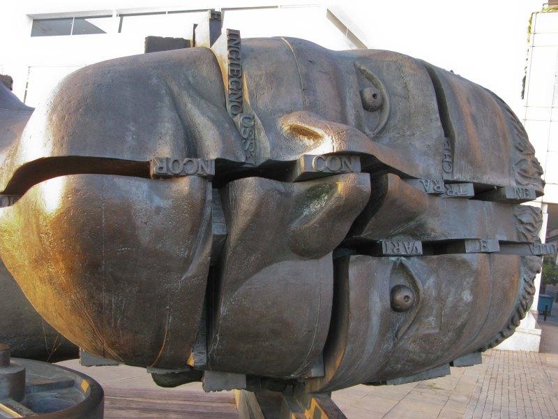 Eduardo Paolozzi's sculpture Head of Invention - outside design museum