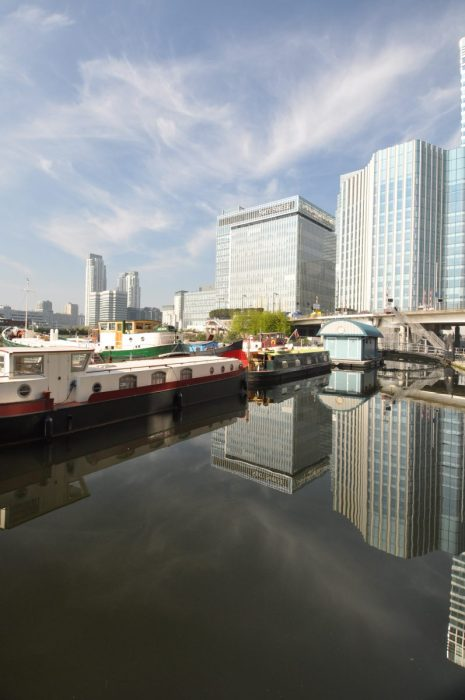London Runs and Photo Routes - Canary Wharf from Poplar Dock -alt view