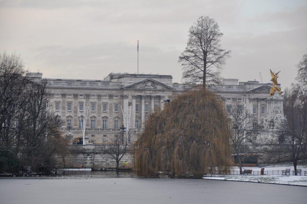Buckingham Palace on a snowy day