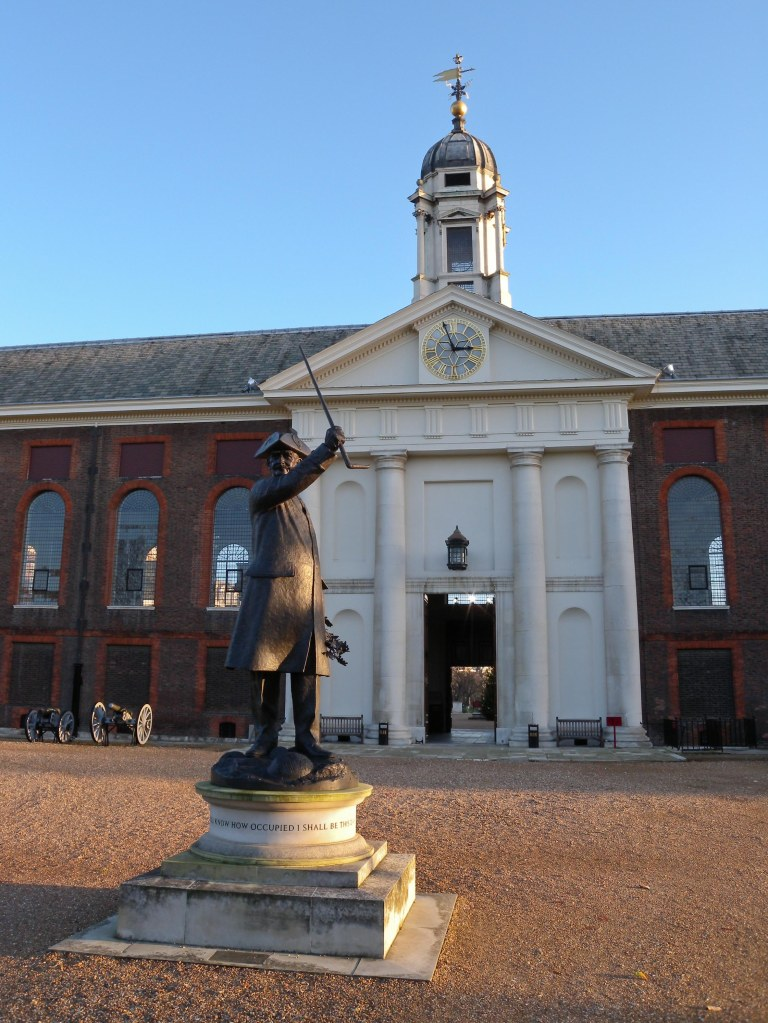 Chelsea Pensioner statue Royal Hospital Chelsea - back view