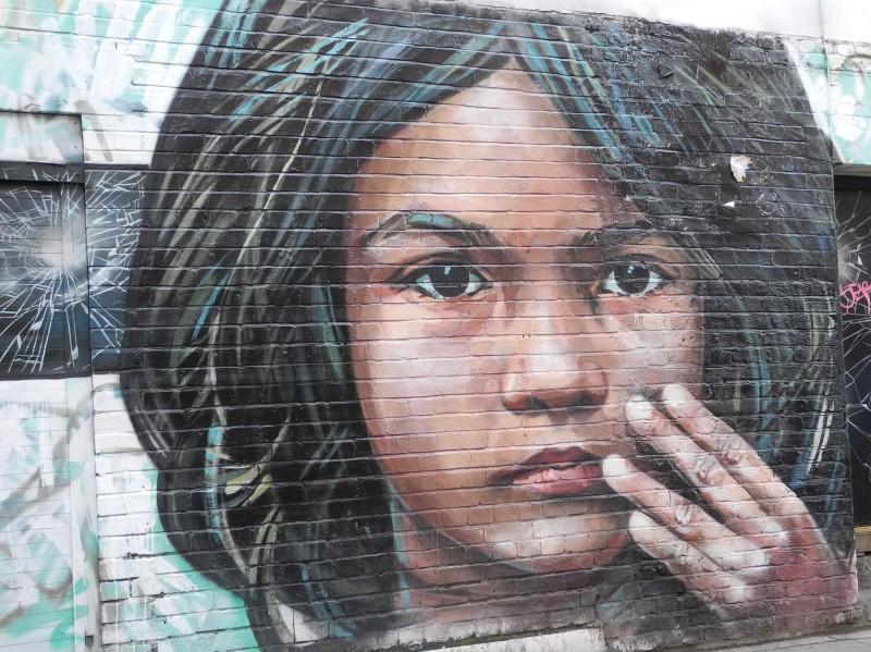 Wall art - side street in Brick Lane