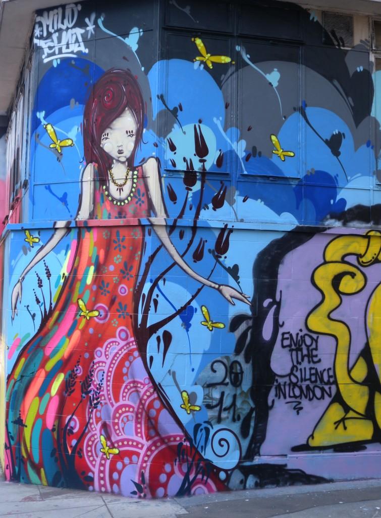 Christina Street - art on boarded building