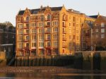 London Runs and Photo Routes - Old Wharf as seen from north bank of Thames - Wapping High Street