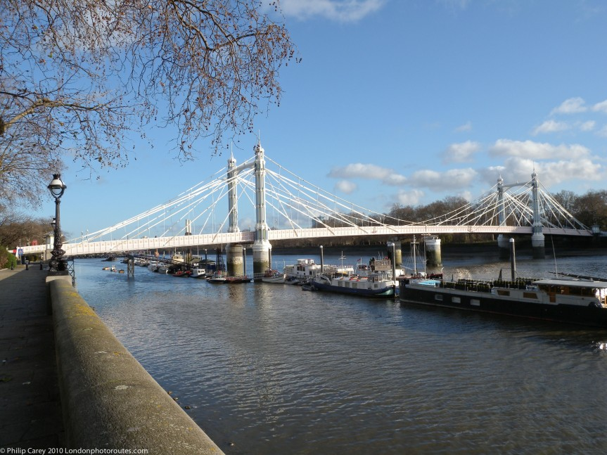 Albert Bridge from Chelsea Embankment - Day