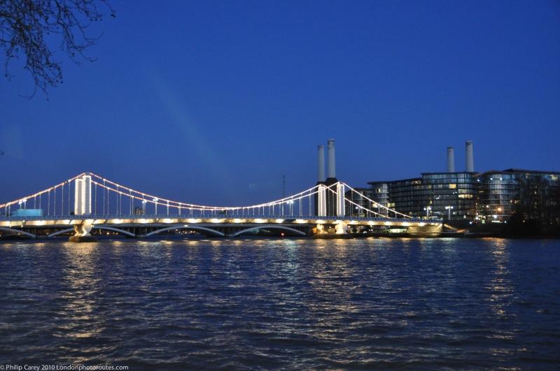 Chelsea Bridge from Chelsea Embankment - Dusk