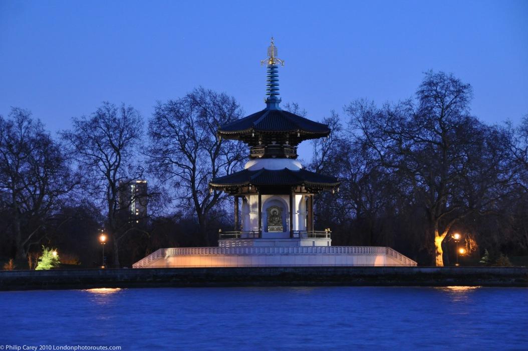 View across to Battersea Park and the Nipponzan Myohoji Peace Pagoda