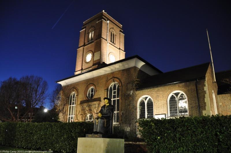 St Thomas More Church at night