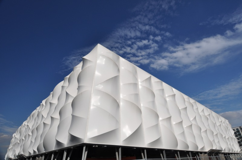 Corner view of outside of arena