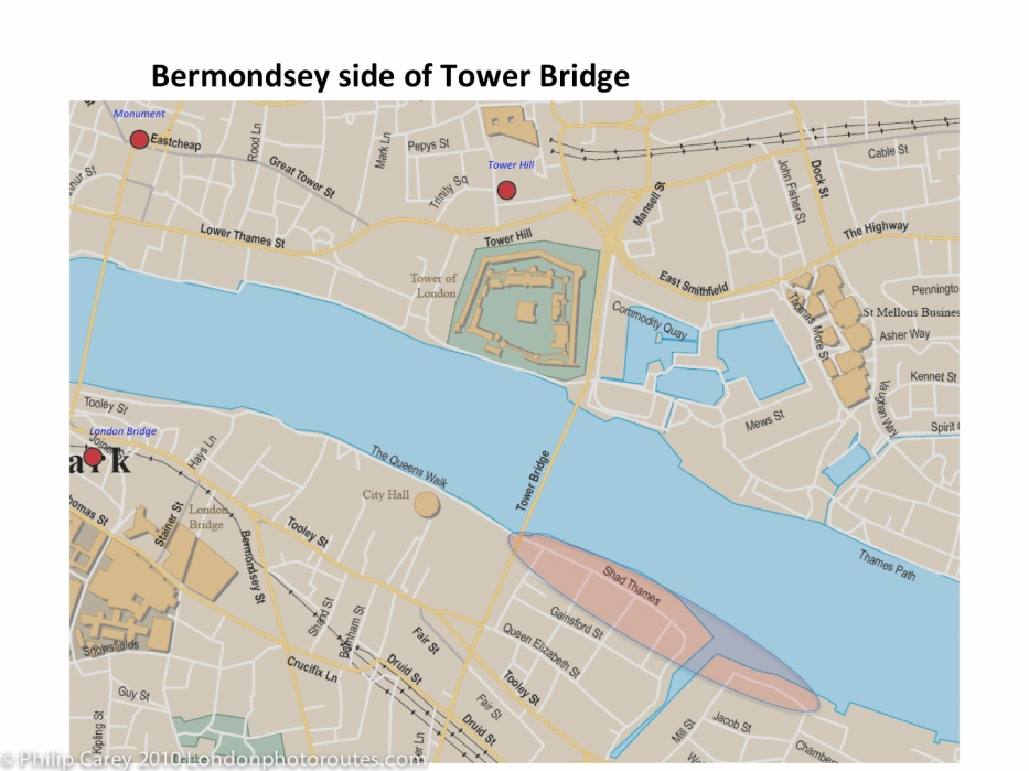 Bermondsey Tower Bridge map