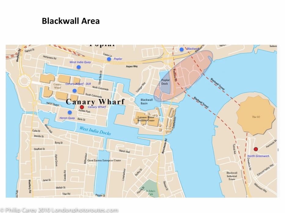 London Runs and Photo Routes - Blackwall area