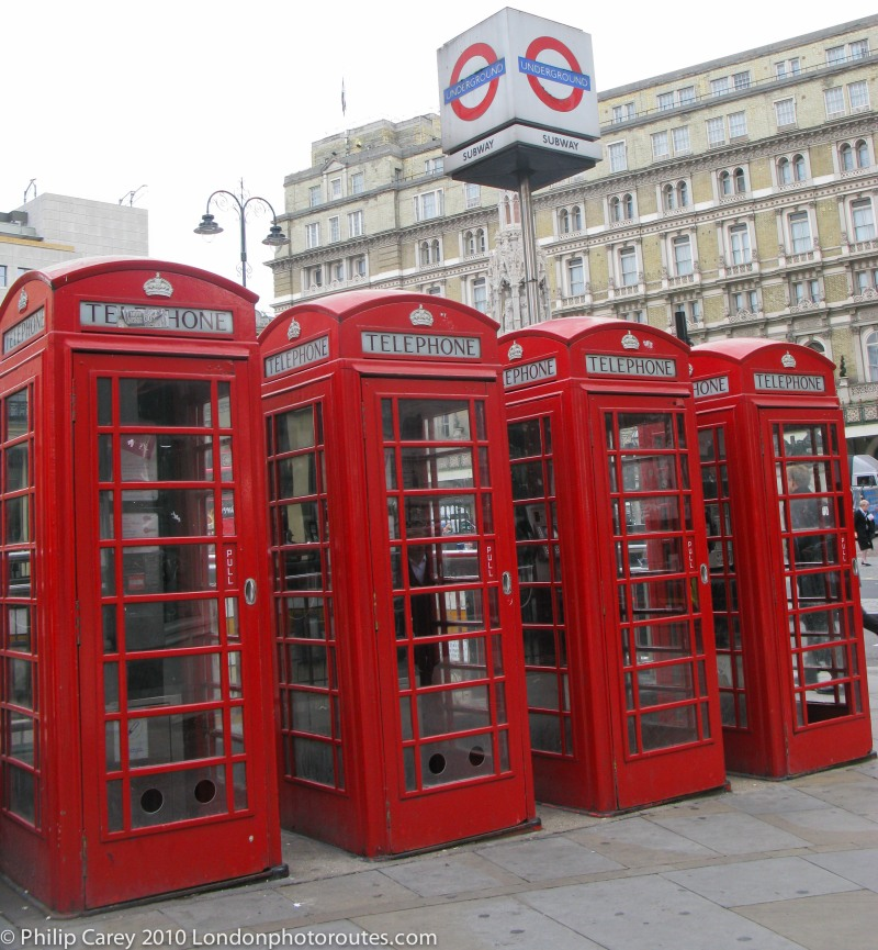 Phone boxes by Charing Cross
