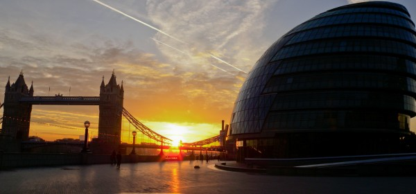 City Hall and Tower Bridge from the Queens Walk - Sunrise