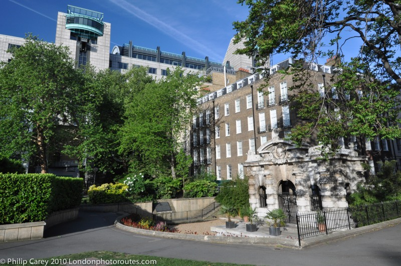 View of Charing Cross Plaza from Victoria Embankment Gardens
