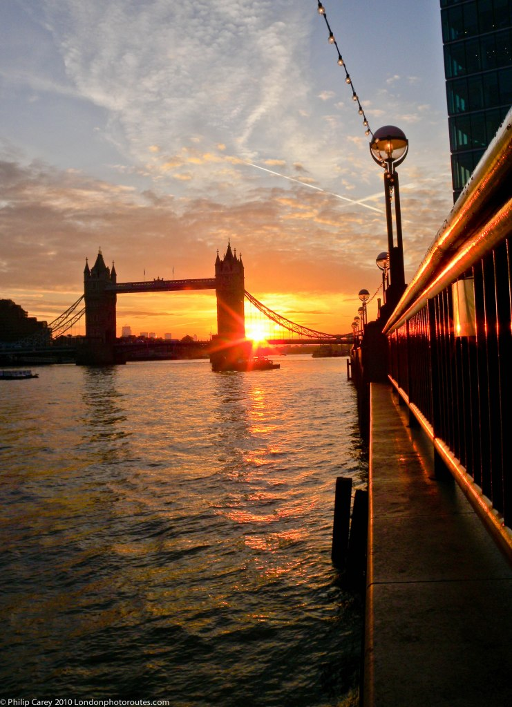 Sunrise London Bridge from Queens Walk