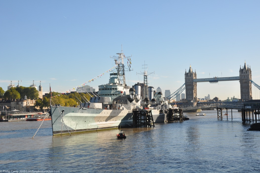 HMS Belfast and Tower Bridge fro the Queens Walk