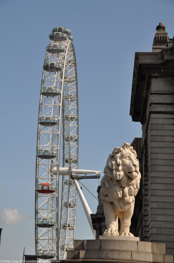 London Eye and South Bank Lion from Westminster Bridge