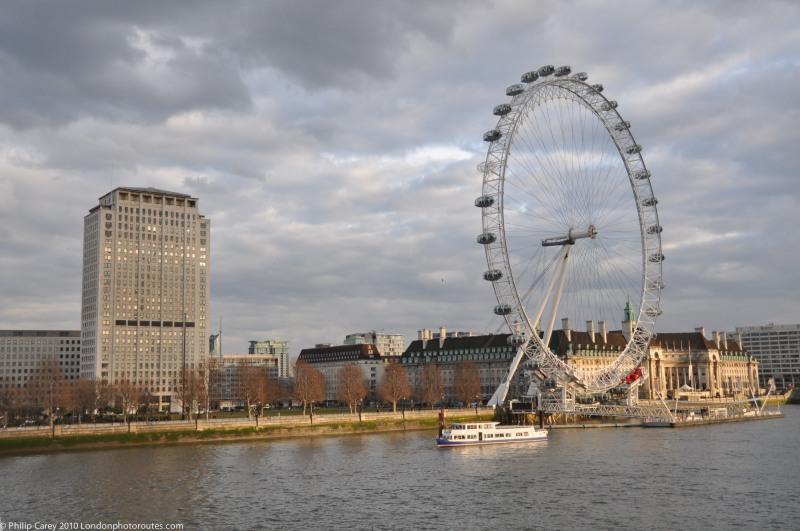 London Eye and Shell Building from Golden Jubilee Bridge -