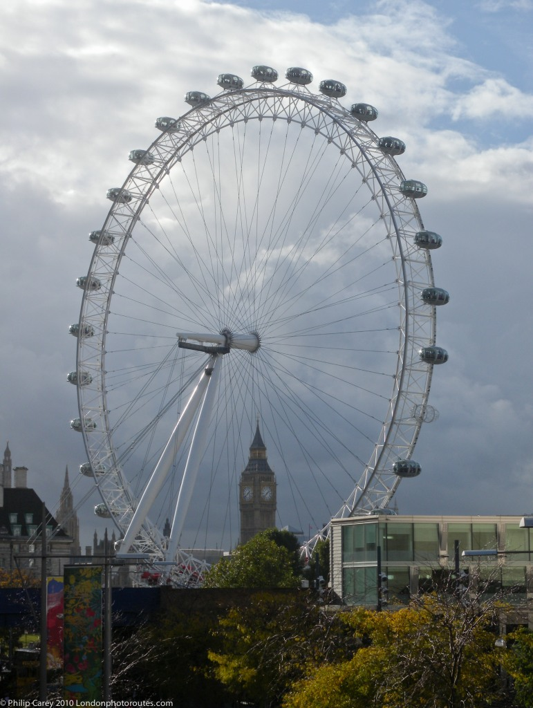 London Eye and Houses Of Parliament from South side of Waterloo Bridge