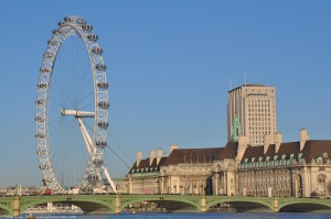 London Eye and Old County Hall from Victoria Tower Gardens