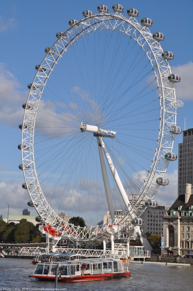 London Eye from Victoria Embankment by Westminster Bridge