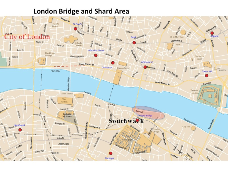 Map London Bridge and the Shard Building