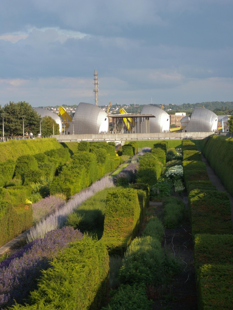 View looking down Thames Barrier park towards Thames Barrier
