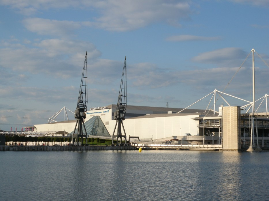 View of ExCel from across Royal Victoria Dock