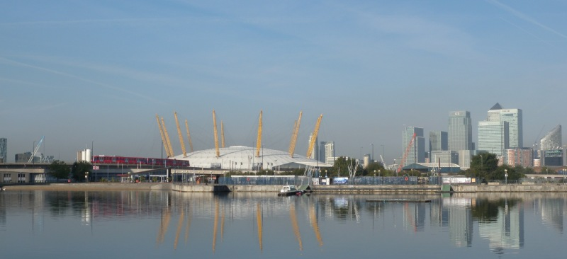 O2 and docklands view from end of Victoria Dock