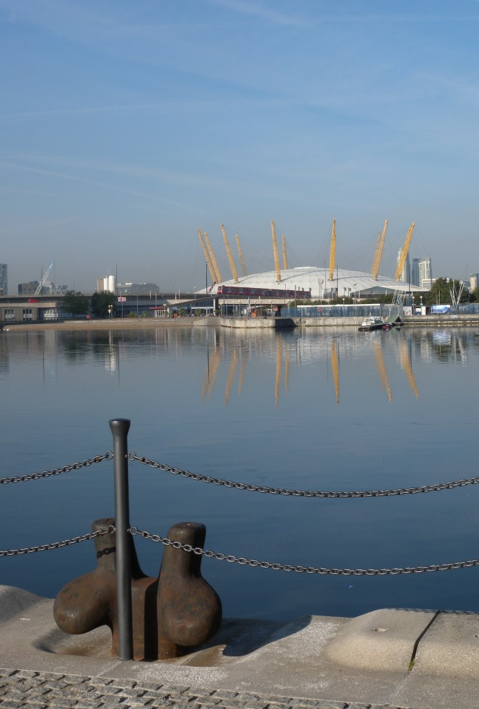 O2 arena from end of Victoria Dock