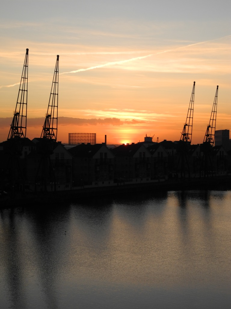 South side of Victoria Dock at Sunset