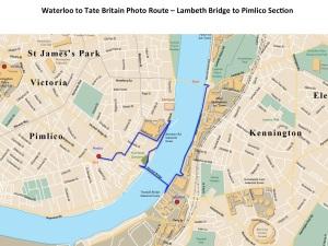 Lambeth Bridge to Tate Britain (Pimlico) route section