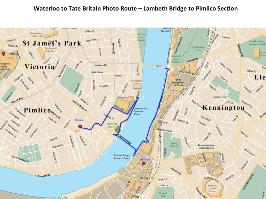 Lambeth Bridge to Tate Britain (Pimlico) route section