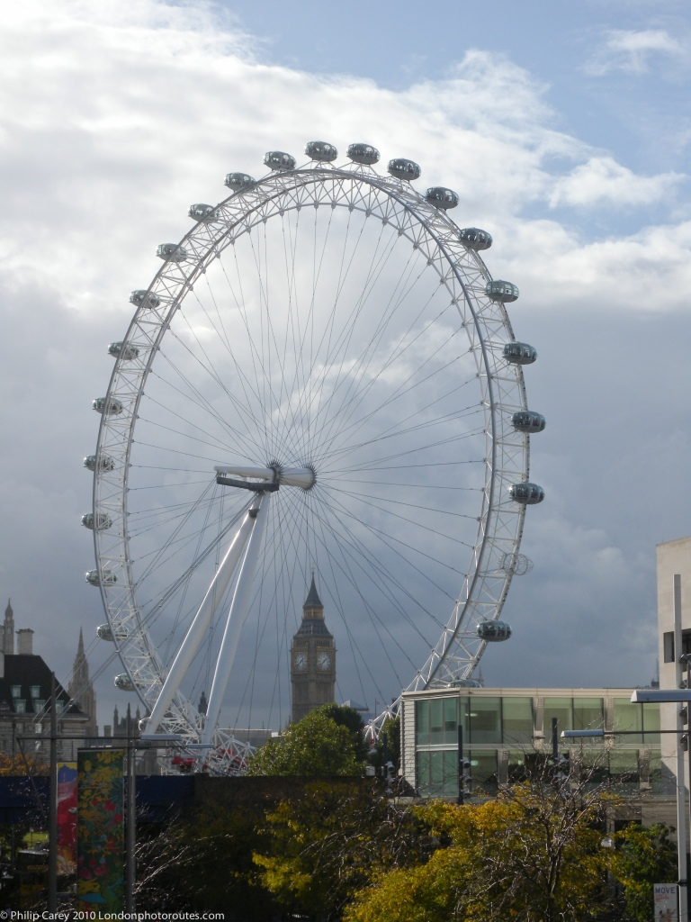 London Eye from south side of Waterloo Bridge