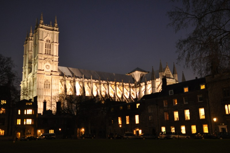 Westminster Abbey from Deans Yard - Night