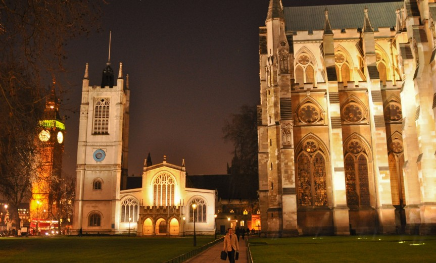 Night view- North side of Abbey, St Margaret Church and Big Ben