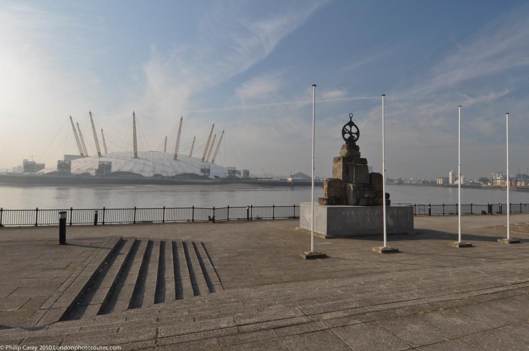 Victoria Quay Memorial and the O2 Arena.