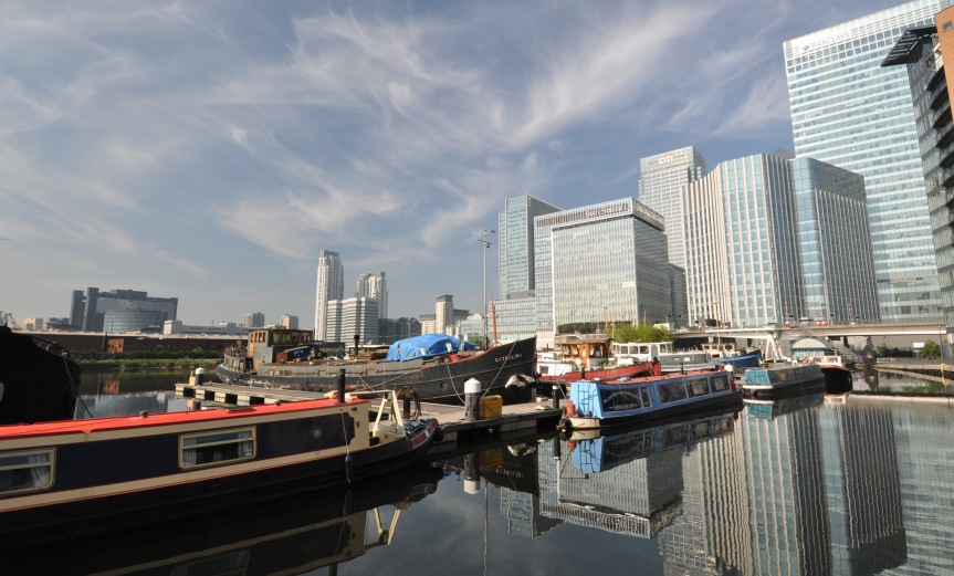 Blackwall Basin and barges