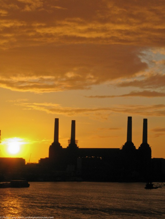 Battersea Power Station from Vauxhall Bridge at Sunset