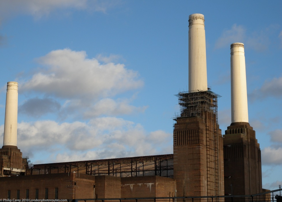 Battersea Power Station from Queenstown Road side street