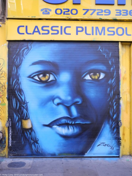 Blue Girl - Shop Shutters- Brick Lane