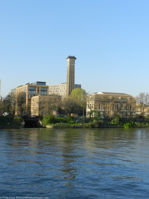 Old Chelsea Waterworks Tower - Grosvenor Canal from South Bank