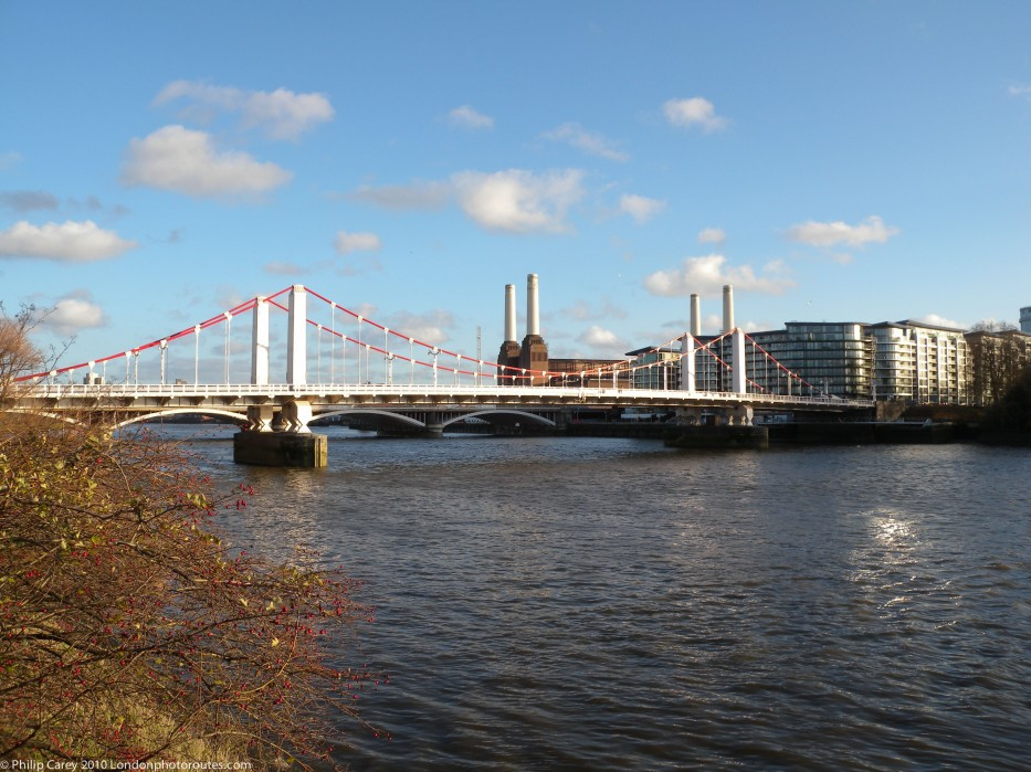 Chelsea Bridge from Chelsea Embankment - Looking east